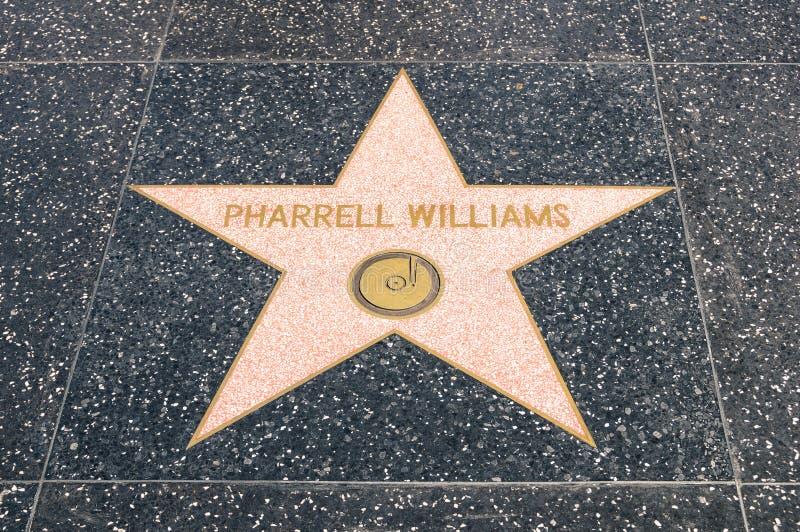 Pharrel威廉斯星名望好莱坞步行的  免版税库存照片
