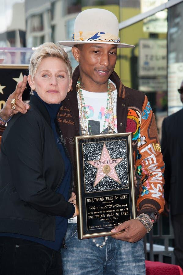 Pharrell Williams & Ellen DeGeneres fotografia stock