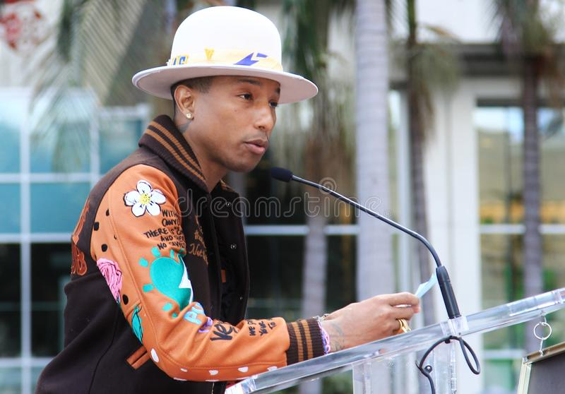 Pharrell Williams. Gets a star in Hollywood stock images