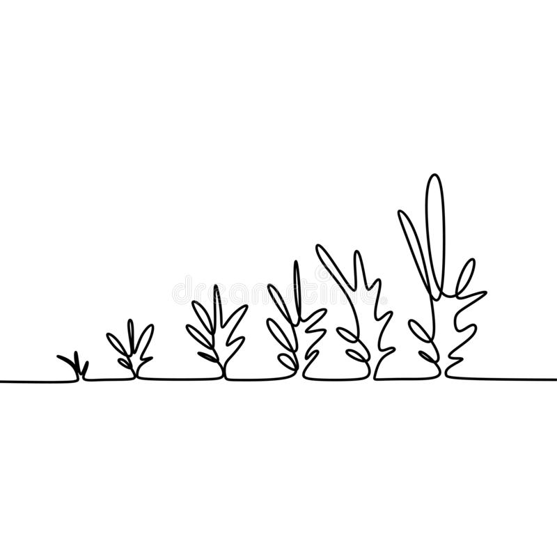 Phase of growing plant continuous one line drawing minimalist vector illustration from seed, root, and leaves royalty free illustration