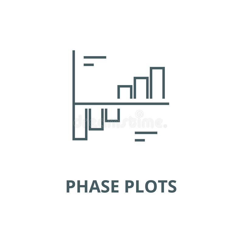 Phase plots vector line icon, linear concept, outline sign, symbol. Phase plots vector line icon, outline concept, linear sign vector illustration