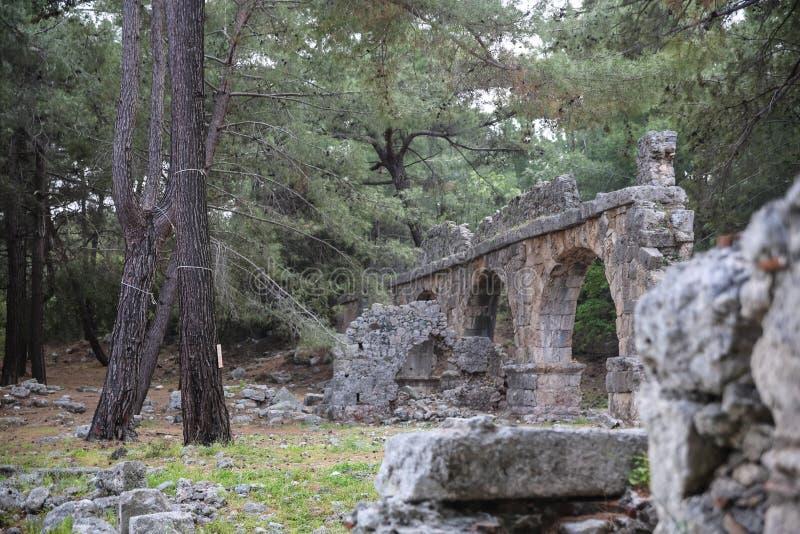 Phaselisruïnes in Turkije stock afbeelding