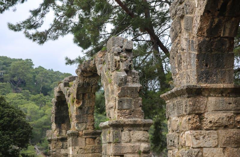 Phaselisruïnes in Turkije royalty-vrije stock afbeelding