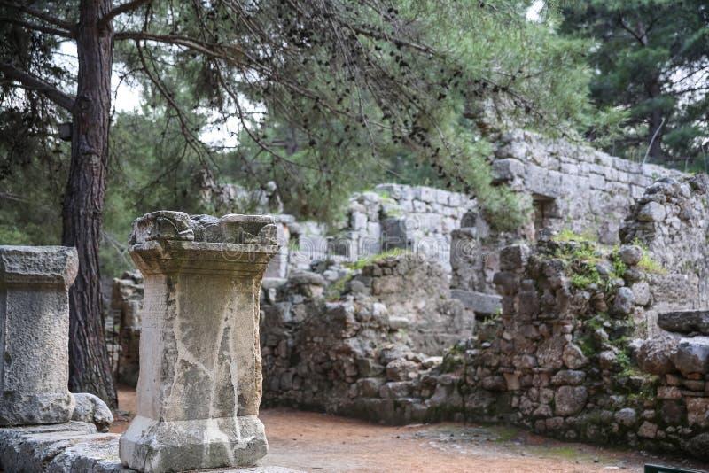 Phaselisruïnes in Turkije stock afbeeldingen