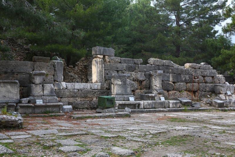 Phaselisruïnes in Turkije royalty-vrije stock afbeeldingen