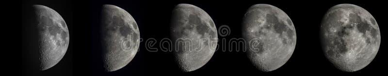 5 Phasen des sichelförmigen Mondes stockfoto