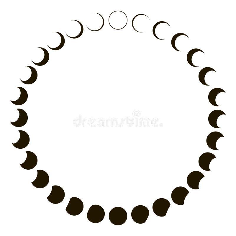Phasenmondastronomie-Ausweisvektor stellte Monatsmondsegmente des Mondes ein vektor abbildung
