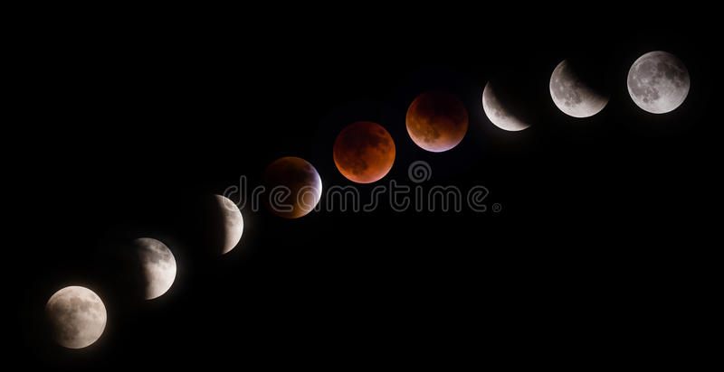 Phases d'éclipse lunaire de Supermoon photos stock