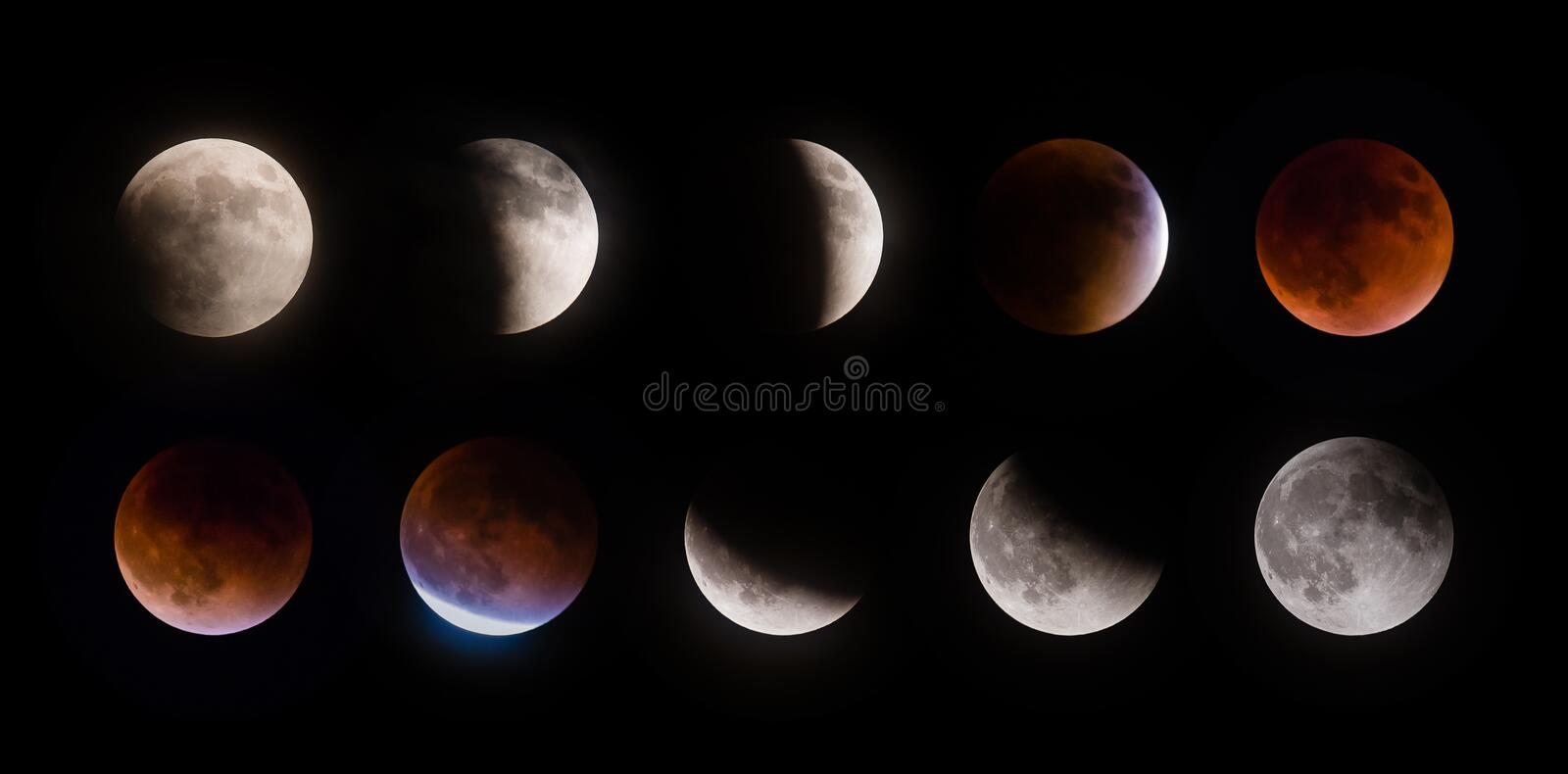 Phases d'éclipse lunaire de Supermoon le 27 septembre 2015 photos stock