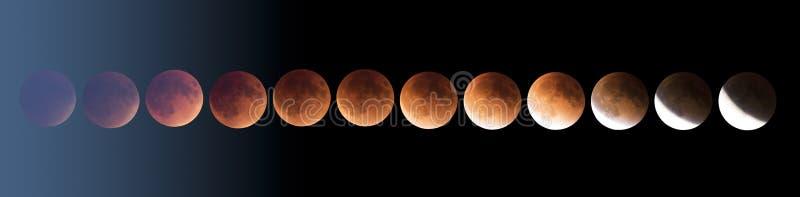 Phases de l'éclipse lunaire photographie stock