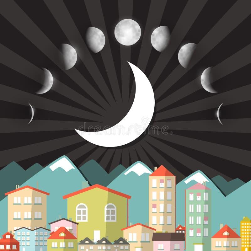 Phases de lune au-dessus de ville de nuit illustration stock