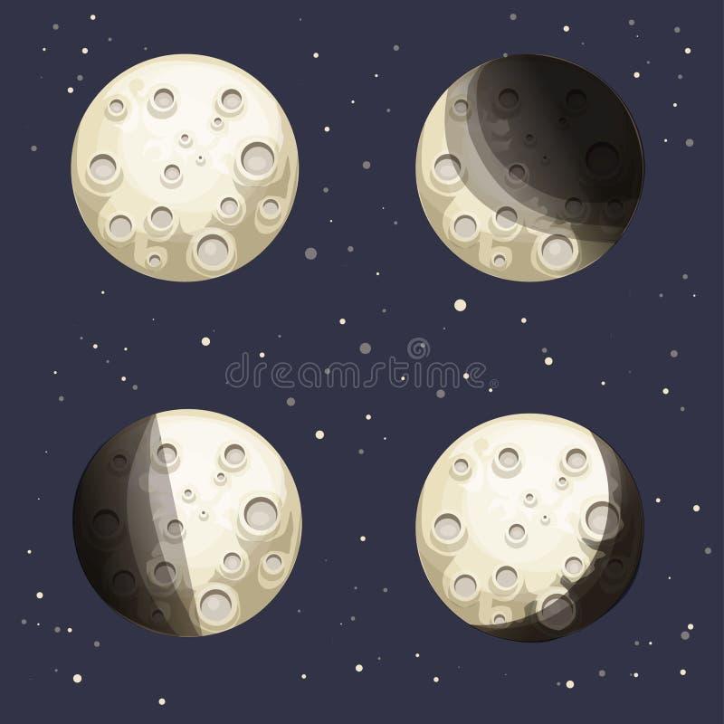 Phases de lune de bande dessinée illustration de vecteur