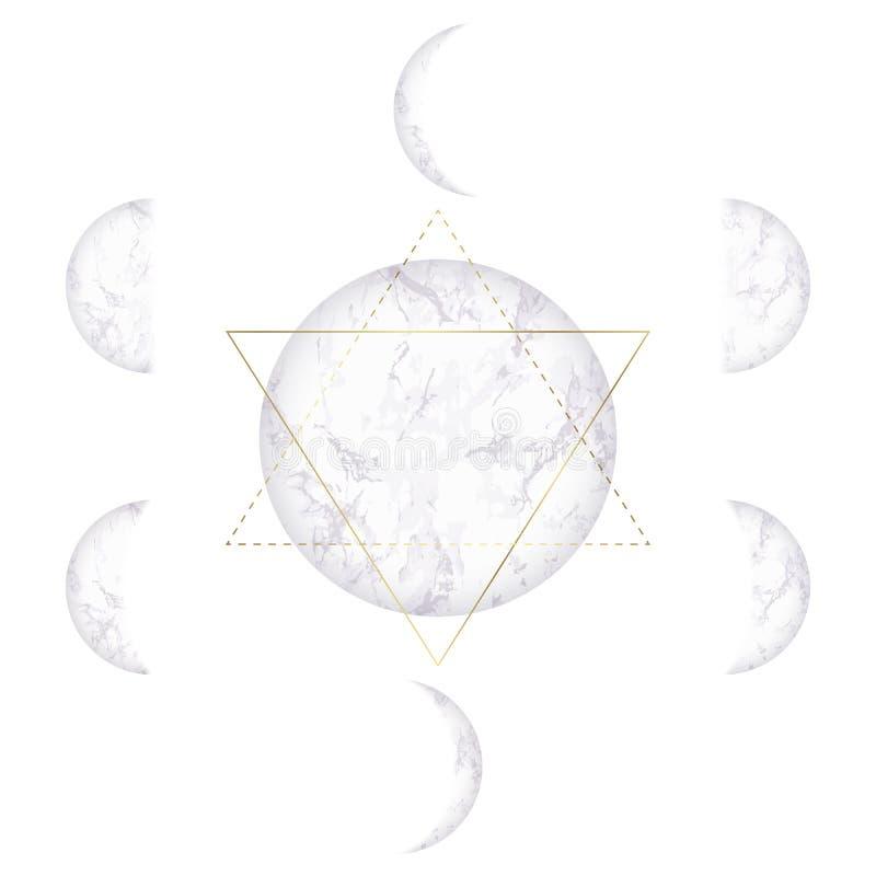 Phases de lune de la texture de marbre et de l'étoile de David illustration libre de droits