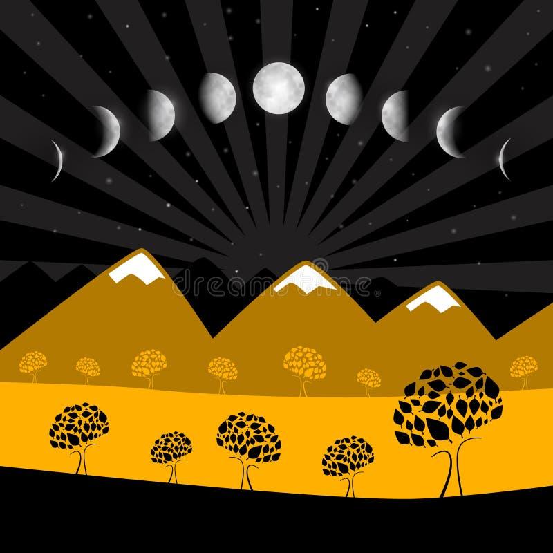 Phases de lune - paysage de nuit avec des arbres illustration libre de droits