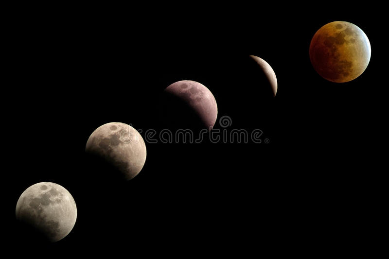 Download Phases of lunar eclipse stock image. Image of space, partial - 14399485
