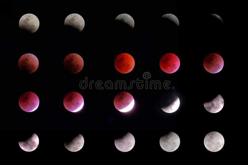 Phases of lunar eclipse royalty free stock photography