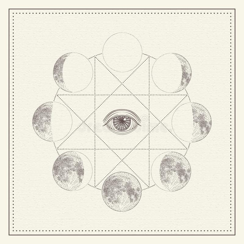 Phases of the moon with all-seeing eye and sacred geometry. Monochrome hand drawn vector illustration royalty free stock photo