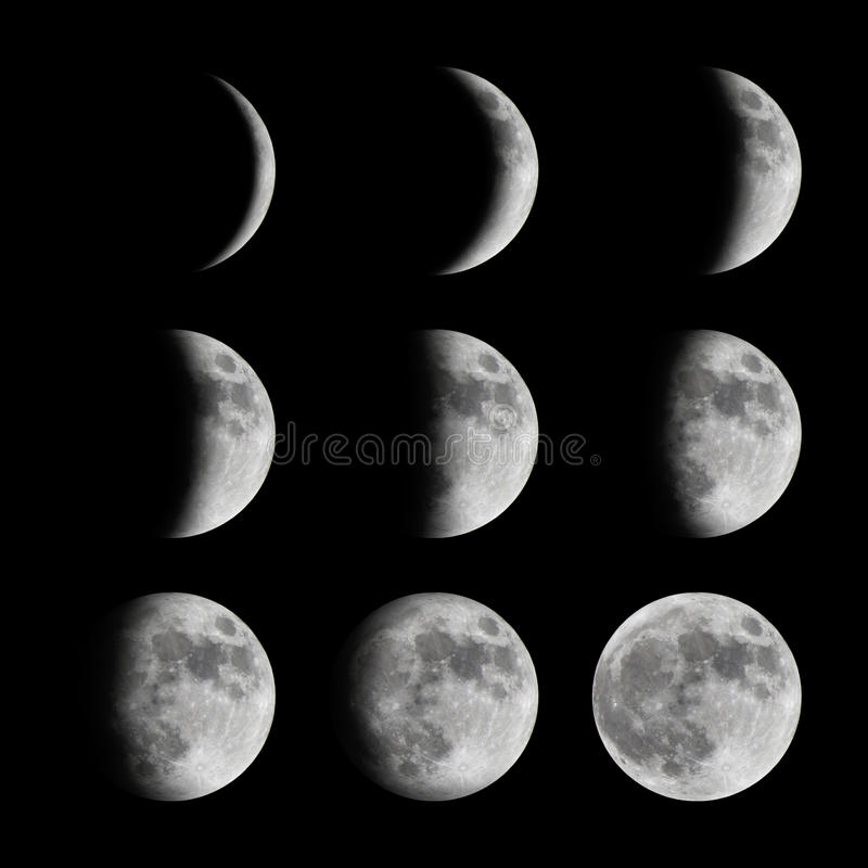 Phases of the moon from new to full. Lunar cycle of the moon ranging from new to full phase