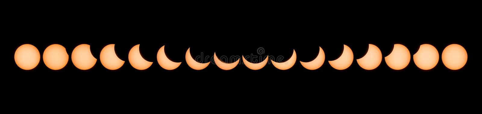 Phases of partial solar eclipse royalty free stock images