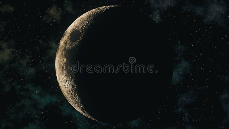 Phases réalistes de lune pendant le cycle lunaire en croissant illustration stock