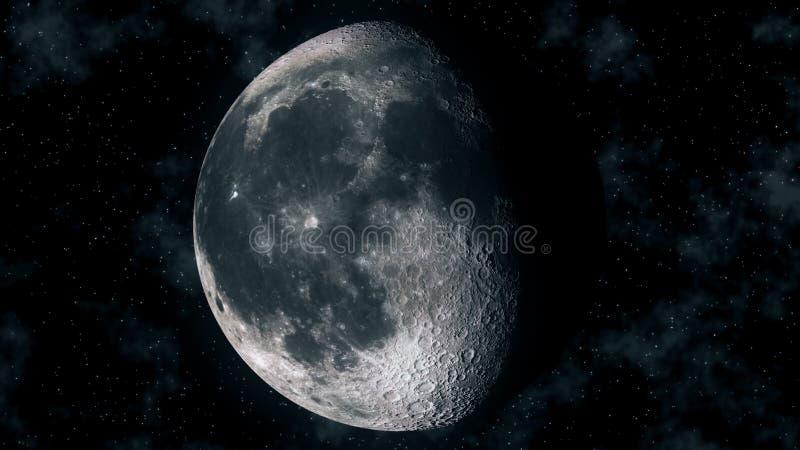 Phases réalistes de lune pendant le cycle lunaire gibbbeux illustration libre de droits