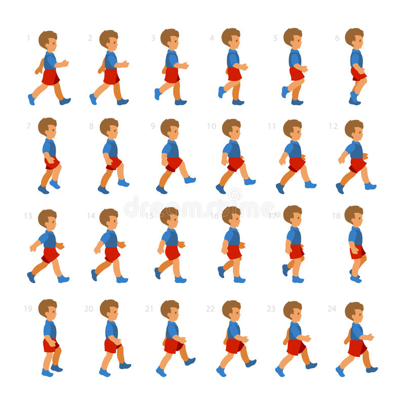 Phases of Step Movements Boy in Walking Sequence for Game Animation vector illustration