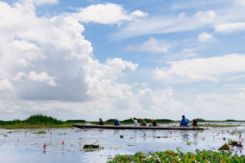 Phatthalung, Ταϊλάνδη - βάρκα τουριστών για την εξόρμηση ιχνών φύσης Talay Noi, υγρότοπος Ramsar resevoir της λίμνης Songkhla στοκ εικόνες με δικαίωμα ελεύθερης χρήσης