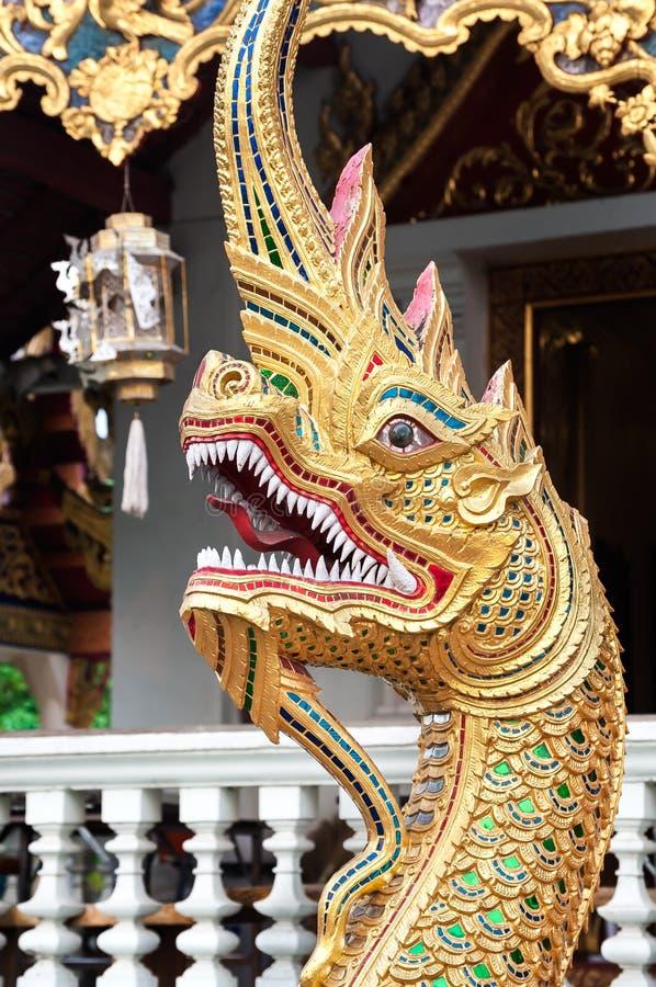 Phaya Naga serpent at Wat Pra Singh, Chiang Mai, Thailand royalty free stock images