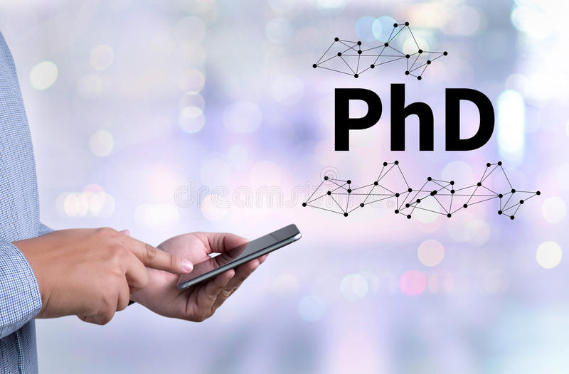 PhD Doctor of Philosophy Degree Education Graduation. Person holding a smartphone on blurred cityscape background royalty free stock photos