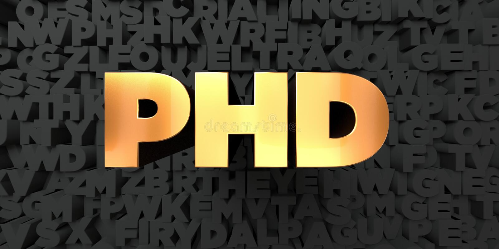 Phd - Gold text on black background - 3D rendered royalty free stock picture. This image can be used for an online website banner ad or a print postcard vector illustration