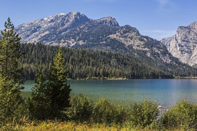 Phelps湖在全部Teton国家公园怀俄明美国 库存图片