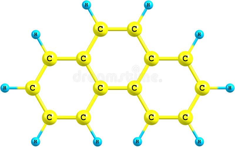 Phenanthrene molecule structureel model op wit stock illustratie