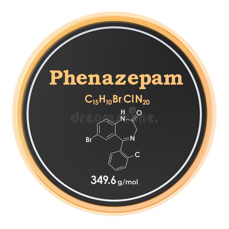 Phenazepam Formule chimique, structure mol?culaire rendu 3D d'isolement sur le fond blanc illustration libre de droits