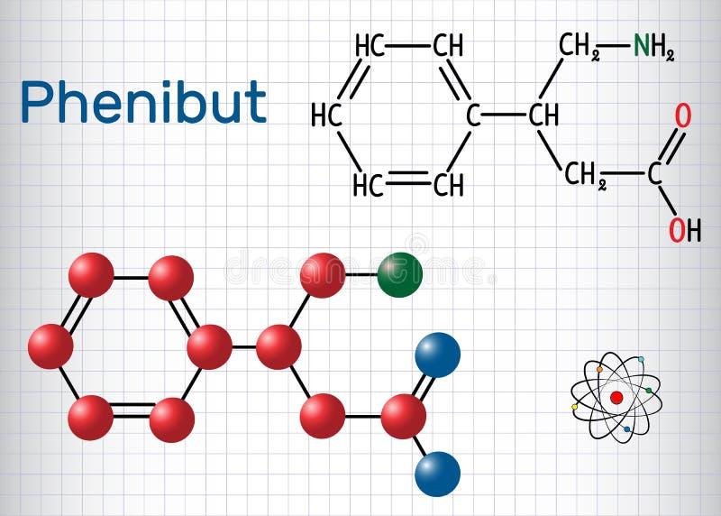 Phenibut är ett centrala nervsystemetlugnande medel med anxiolyticen stock illustrationer