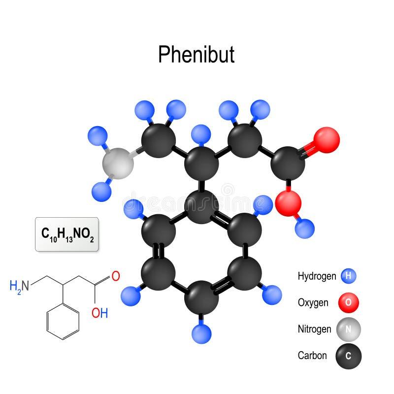 Phenibut Struktur av en molekyl royaltyfri illustrationer
