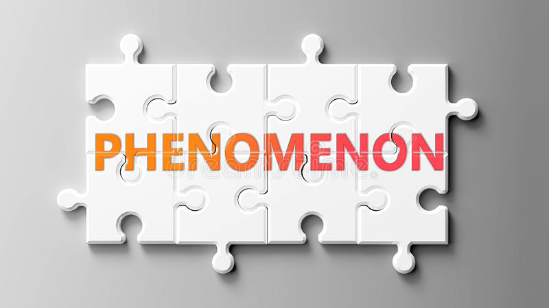 Phenomenon complex like a puzzle - pictured as word Phenomenon on a puzzle pieces to show that Phenomenon can be difficult and stock illustration