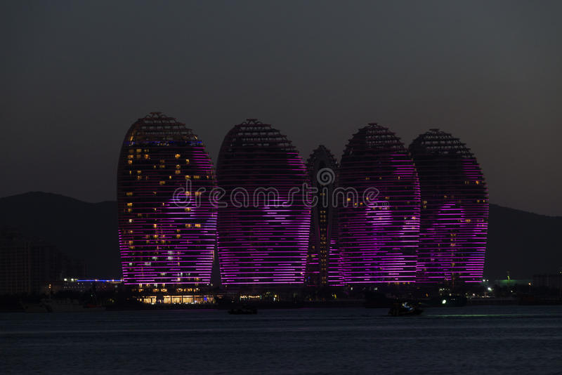 Pheonix Island Sanya, illuminated buildings. Unique modern design. Sanya is the millionaires paradise, It is located on the Island of Hainan and boasts some stock photography