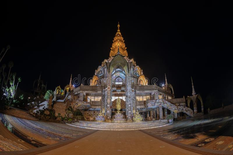Phetchabun Province,Thailand-July 27,2018, Asahabucha Day in Buddhism wat Phasonkhew temple open lighting all place for people lo stock photography