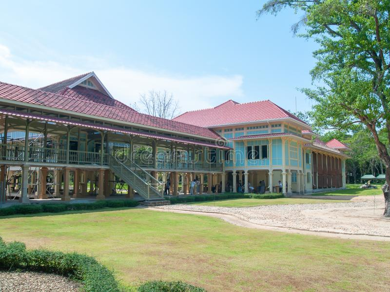Phetchaburi Thailand - Juni 24, 2019: Mrigadayavan slott arkivbild