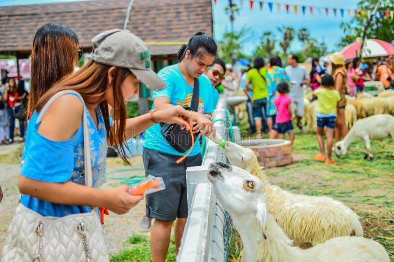 PHETCHBURI, THAILAND 21 JULI: Niet geïdentificeerde groepen mensen en wo royalty-vrije stock afbeeldingen