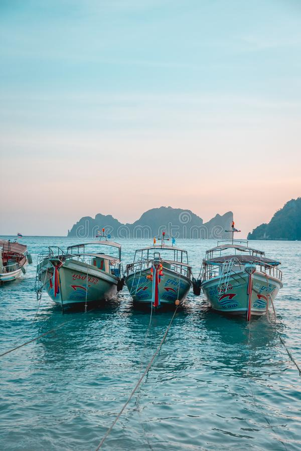 Boats on the Phi Phi Islands, Thailand royalty free stock images
