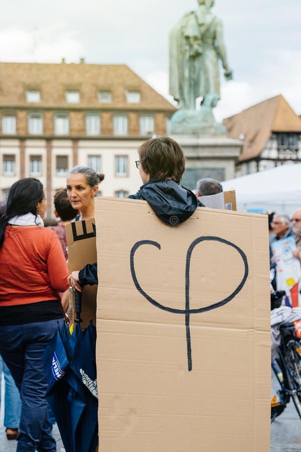 Phi polityczny logotyp Luc Melenchon przy protestem przeciw obraz stock