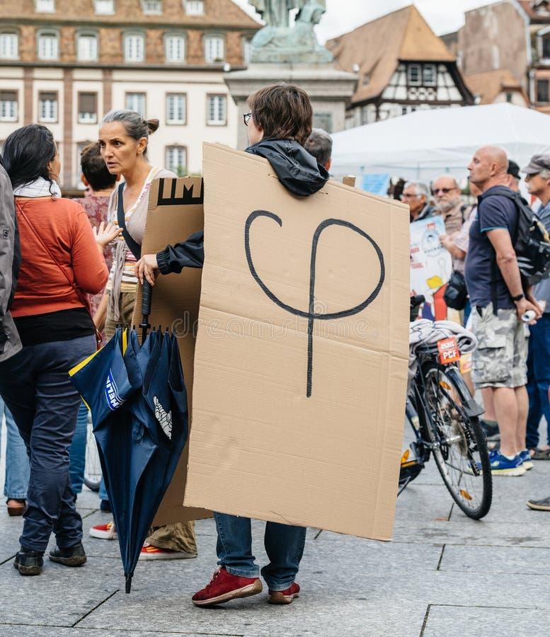 Phi polityczny logotyp Luc Melenchon przy protestem przeciw obrazy stock