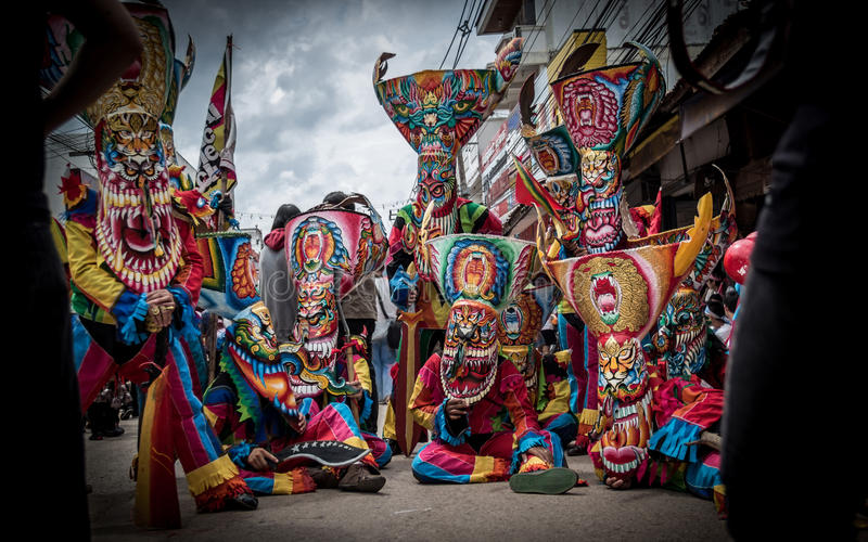 Phi Ta Khon Festival in Moung Loei of Thailand. LOEI, THAILAND - JUNE: Phi Ta Khon Festival on June in Moung Loei of Thailand. The people dress in spirit and royalty free stock photos