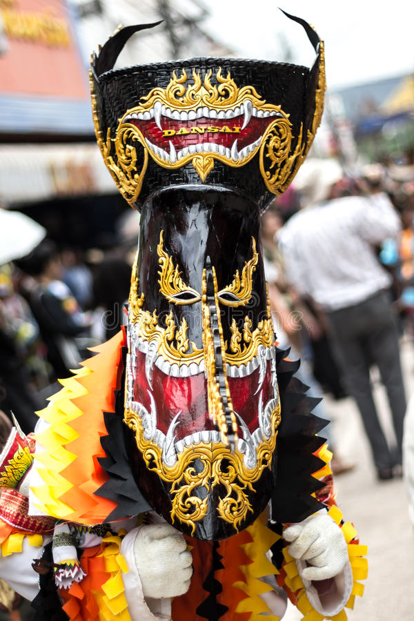 Phi Ta Khon Festival in Moung Loei of Thailand. Phi Ta Khon Festival on June in Moung Loei of Thailand. The people dress in spirit and wear a mask, sing and royalty free stock images