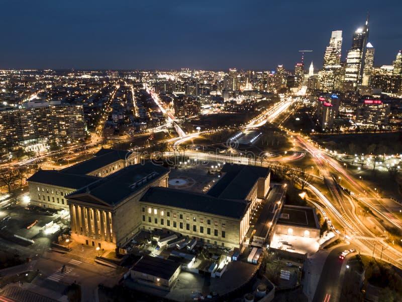 Phiadelphia nights - Drone shot royalty free stock photography