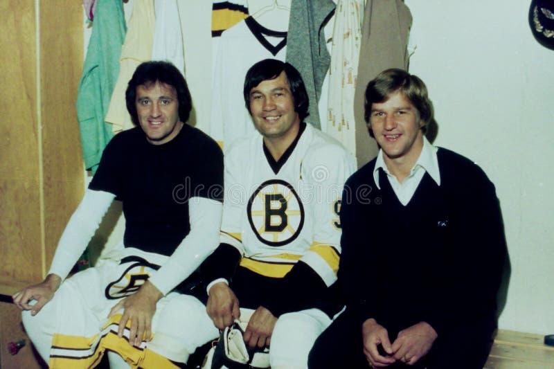 Phil Esposito, Johnny Bucyk och Bobby Orr royaltyfri bild