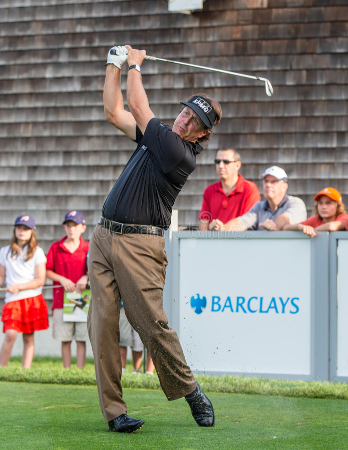 Phil Mickelson at the 2012 Barclays. FARMINGDALE, NY - AUGUST 21: Phil Mickelson hits a drive at Bethpage Black during the Barclays on August 21, 2012 in stock images