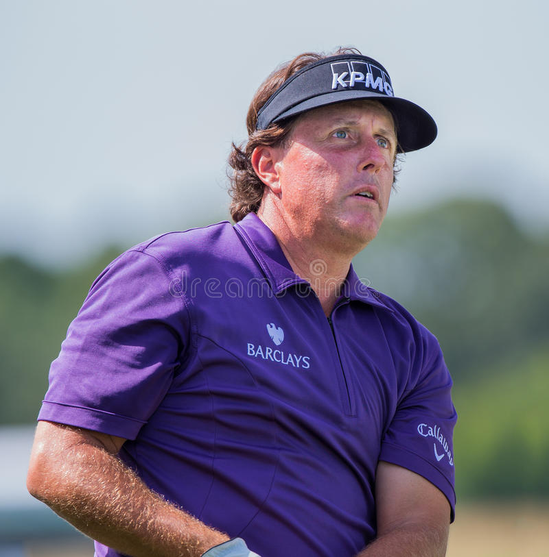 Phil Mickelson ar the 2012 Barclays. FARMINGDALE, NY - AUGUST 21: Phil Michelson hits a shot at Bethpage Black during the Barclays on August 21, 2012 in stock photography