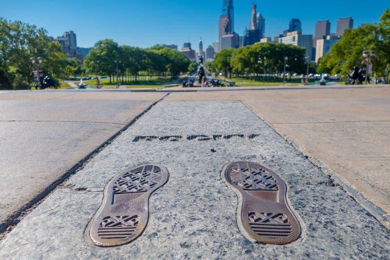 PHILADELPHFIA, EUA - 22 DE NOVEMBRO DE 2016: Monumento de Rocky Steps em Philadelphfia O monumento comemora o filme aclamado imagem de stock